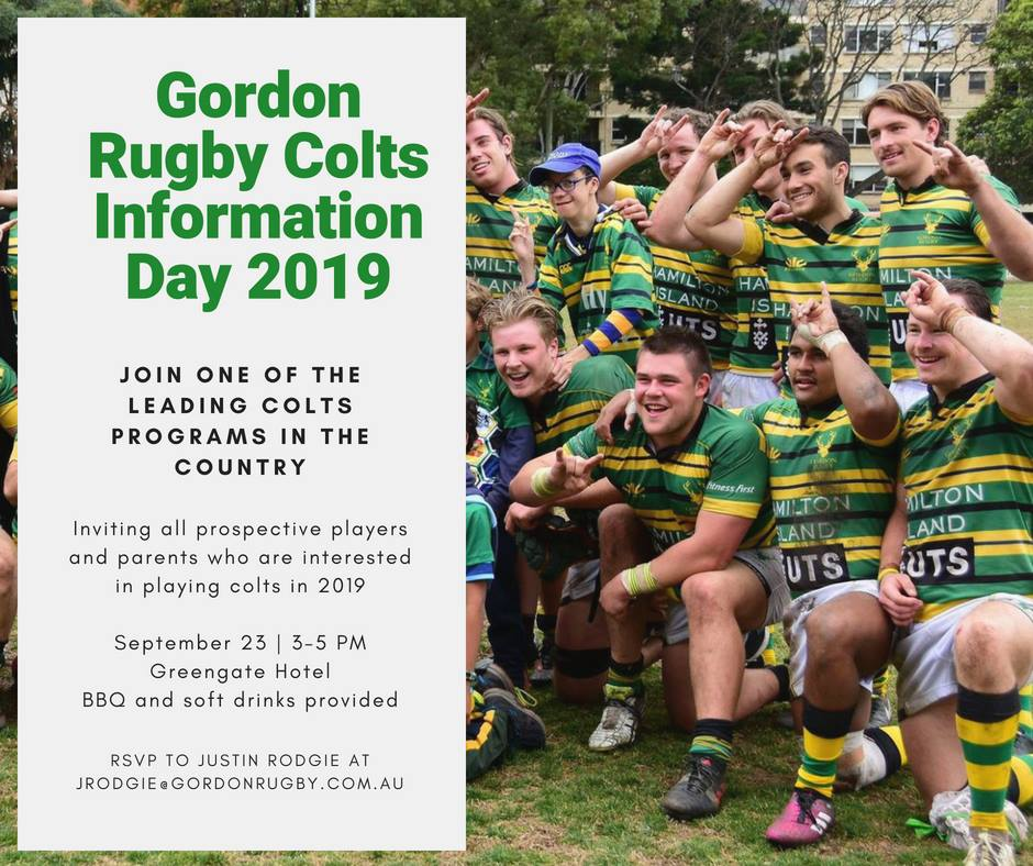 8cf7ba4b 2019 GORDON RUGBY COLTS INFORMATION DAY - SUNDAY, 23RD SEPTEMBER ...
